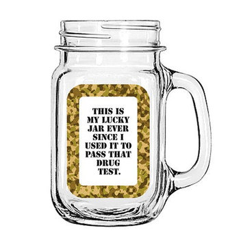 Amazing Giftimpact Vintage Glass Mason Jar Cup Mug Lemonade Tea Decor Painted Funny-This is my Lucky Jar ever Since I Used it to pass that Drug test.