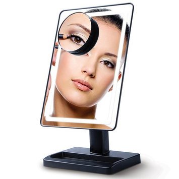"""Lighted Makeup Mirror with Magnification - """"LightTouch"""" Black Touch Activated Adjustable and Dimmable 10 x 7 Inch LED Vanity Mirror with Lights and Removable Make Up Mirror"""