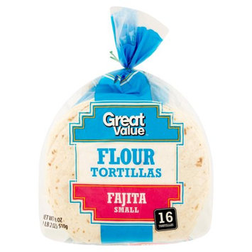 Wal-mart Stores, Inc. Great Value Fajita Small Flour Tortillas, 16 count, 18 oz