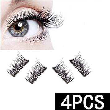 HOBO New Dual Magnetic False Eyelashes - Ultra Thin 3D Fiber Reusable Best Fake Lashes Extension for Natural, Perfect for Deep Set Eyes & Round Eyes (4 Pieces)