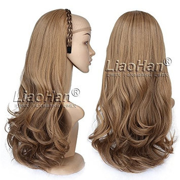 Highlight Brown Hair Fall Long Wavy 3/4 Half Wig Hairpieces Synthetic Half Head Brown Wig Fall