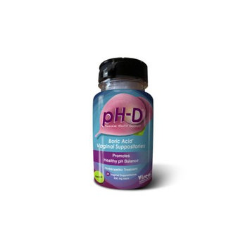 Vireo Systems ;pH-D Feminine Health Support, Boric Acid Vaginal Suppositories, Bottle of 24 (600mg)