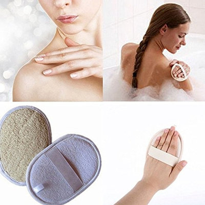 Exfoliating Loofah Pad for Men and Women, UMILLER Natural Loofah Sponge Scrubber Brush with Terry Cloth Materials, for Bath Shower and Spa