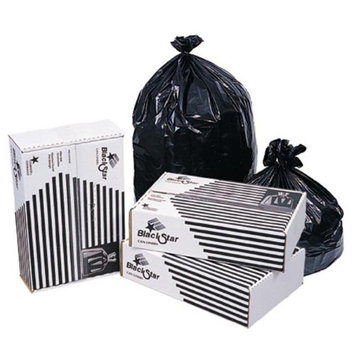Pitt Plastics 0.45-mil Star Can Liners, 33 Gallons, 33in. x 39in, Black, Pack Of 250