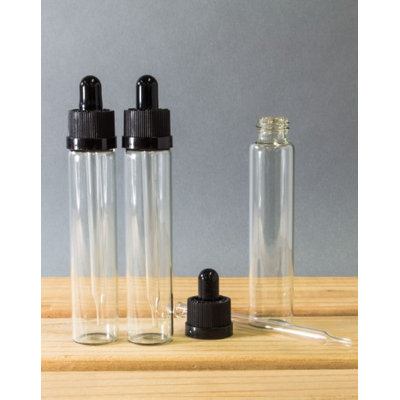 30ml Clear Glass Dropper Bottle with Black Top