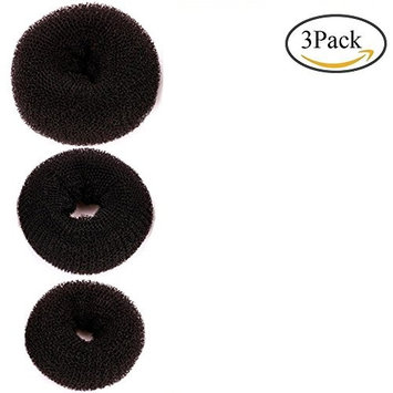 3 Pieces Donut Bun Maker, Chignon Hair Donut Buns Maker Hair Styling Tools Ring for Women and Girls(Large, Medium, Small) (Black)