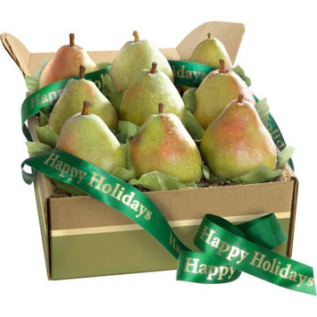Golden State Fruit Happy Holidays Imperial Comice Pears Deluxe Fruit Gift Box, 9 pc
