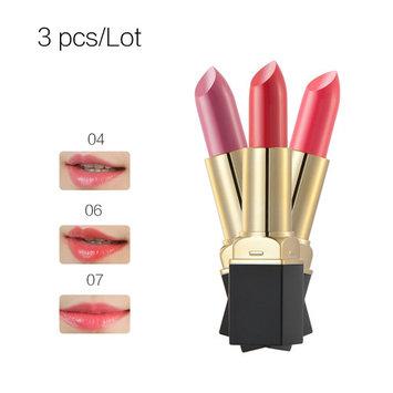 2017 New HuaMianLi Long Lasting Sexy Lipstick Lip Gloss Matte Waterproof Makeup(4+6+7# 3 Colors) 3PCS