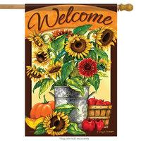 Flagtrends Sunflower Bucket Welcome Fall House Flag Autumn Pumpkin Apples 2 Sided 28' x 40'
