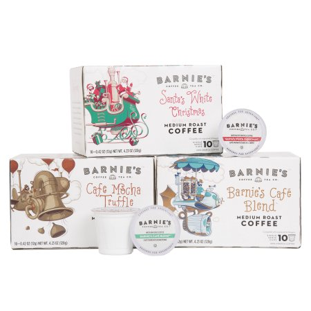 Barnie's Coffee & Tea Co. Barnie's Variety Pack Single Serve 120 CT. Barnie's Caf © Blend, Santa's White Christmas, Caf © Mocha Truffle