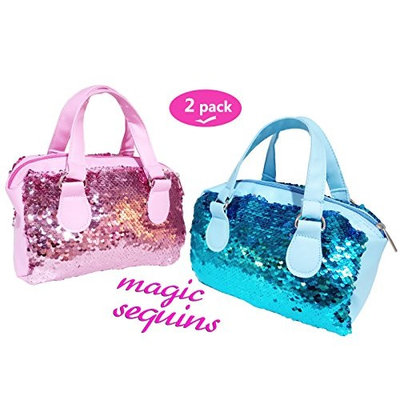 Neathouse 2 Pack Mermaid Sequin Cosmetic Bags, Sparkling and Fashion Handbags, Bling Glitter Evening Party Bags for Girls and Women