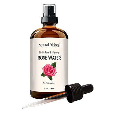 Rose Water Facial Toner Spray, 100% Natural Organic Bulgarian Rosewater Face toner 4 oz Natural Acne Treatment with sprayer and dropper (chemical free)