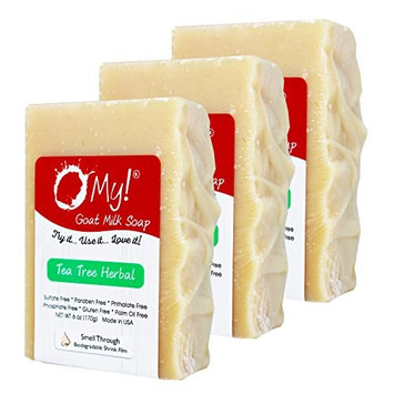 Bundle of 3 O My! Tea Tree Herbal Goat Milk Soap - All Natural, Palm Oil Free, Handmade Soap Made in USA