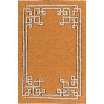 5' x 8' Resplendent Pumpkin Orange and Pale Gray Hand Woven Wool Area Throw Rug