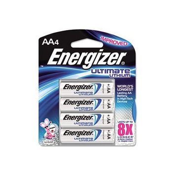 Energizer L91BP4 Lithium Battery, AA, 4/PK, SR