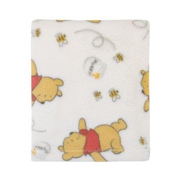 Disney Winnie the Pooh Plush Ivory Baby Blanket