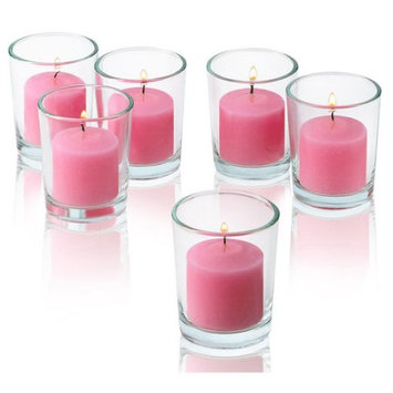 Light In The Dark Pink Rose Garden Scented Votive Candles With Clear Glass Holders Set Of 48