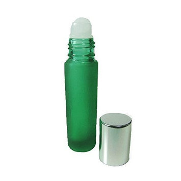 Grand Parfums Essential Oil and Aromatherapy 10ml Glass Roll On Bottles, Frosted Bottle Green with Silver Caps-Set of 12