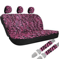Istiloshoppe Car Accessories 8pc OxGord Hot Pink Zebra Stripe Animal Low Back Bench Row Car Seat Cover 1E