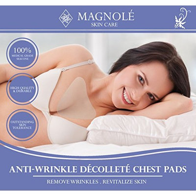Magnolé Anti Wrinkle Decollette Pad for Chest Wrinkles, Eliminate & Prevent Aging Chest Wrinkles, Medical Grade Silicon, Clear & Reusable, Overnight Smoothing Silicon Cleavage Decollete Skin Care Pads