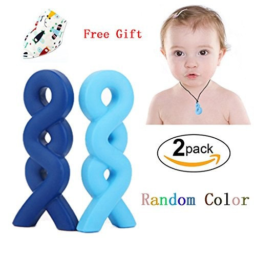 Baby Chew Necklace,Bagvhandbagro 2Pcs Chewelry Necklace Silicone Teething,Baby Chew Pendant Necklace with 1Pcs Baby Drool Bibs,for Autism and Oral Motor Special Needs Kids