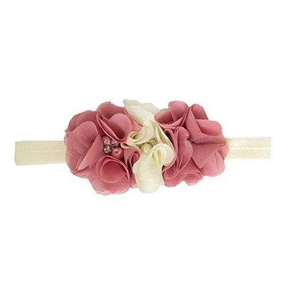 StylesILove Baby Girls Handmade Rhinestones Pearls Floral Chiffon Ribbon Headband (1-Pack, Dusty Rose-Ivory)
