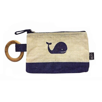 Nautical Blue Whale Jute Zippered Cosmetics Toiletry Bag