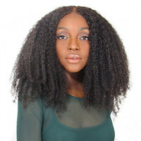 YVONNE Afro Kinky Curly Brazilian Virgin Hair Wig 180 Density Lace Front Wigs Human Hair For Black Women Natural Color