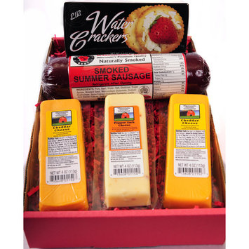 Wisconsin's Best Cheese, Sausage, and Crackers Gift Basket with Cheeses and Summer Sausage Made in Wisconsin, 5 pc