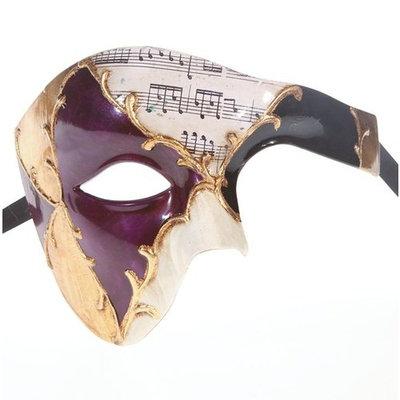 Men Phantom Of The Opera Half Face Masquerade Mask Purple and Gold Musical