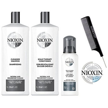Nioxin System 2 LARGE STARTER KIT for Natural Hair & Progressed Thinning 3-piece TRIO Kit (with Sleek Steel Pin Tail Comb)