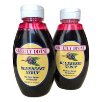 Sweetly Divine Natural Fruit Flavored Blueberry Syrup for Coffee, Pancakes, Waffles, Ice Cream - Healthy and Great Tasting Flavoring Syrup - No High Fructose Corn Syrup (Blueberry, (2) 14 oz bottles)