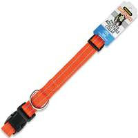 Aspen Pet Petmate 5/8 Nylon Reflective Padded Adjustable Dog Collar in Orange, Medium