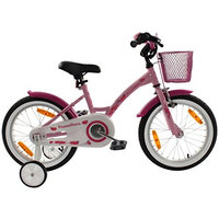 PROMETHEUS Kids bike 16 inch Girls in pink purple & white with stabilisers | Aluminum Calliper brake and backpedal brake | including security package | as from 5 years | 16