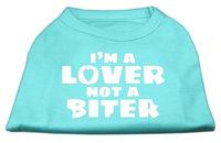 Mirage Pet Products 5142 LGAQ Im a Lover not a Biter Screen Printed Dog Shirt Aqua Lg 14