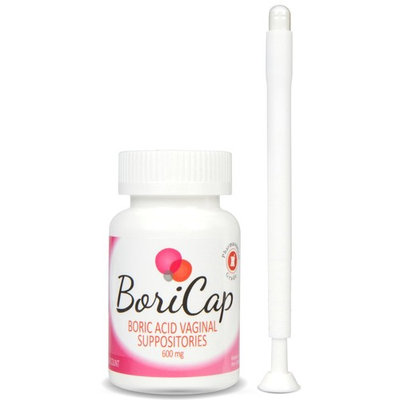 BoriCap Boric Acid Vaginal Suppositories | 60 Count, 600mg | Capsules Size 00 | No Fillers or Artificial Colors | Gynecologist Instructions Included | Made in The USA