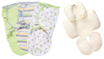 Summer Infant SwaddleMe Cotton Small/Medium 3-Pack with Terry Snuzzler Head Body Support, Bees