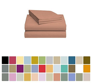 LuxClub Bamboo Sheet Set - Viscose from Bamboo - Eco Friendly, Wrinkle Free, Hypoallergenic, Antibacterial, Moisture Wicking, Fade Resistant, Silky & Softer than Cotton - Salmon Pink - California King
