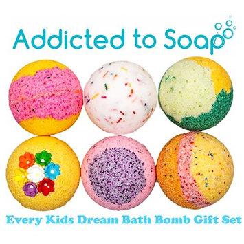 Addicted to Soap - 6 Bath Bomb Gift Set | Every Kids Dream - Watermelon Lemonade, Birthday Cake, Fairy Dust, Lemongrass, Fruit Loop, Jelly Donut