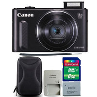 Canon PowerShot SX610 HS 20.2MP 18x Optical Zoom Wifi Digital Camera Black with 8GB Memory Card and Camera Case
