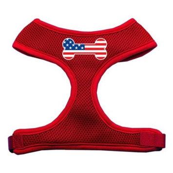 Mirage 70-36 XLRD Bone Flag USA Soft Mesh Dog Harness Red Extra Large