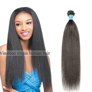 Vinsteen Brazilian Virgin Human Hair Weave【 Yaki Straight 】Weft 1 Bundles 100% Unprocessed Hair Extensions Natural Color(12'')