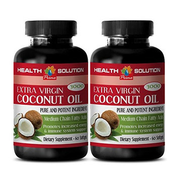 Extra virgin coconut oil for hair - EXTRA VIRGIN COCONUT OIL 3000 - support healthy metabolism (2 bottles)