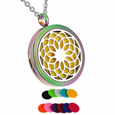 12 Pads Dream Flower Essential Oil Diffuser Aromatherapy Jewelry Necklace