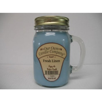 Our Own Candle Company Fresh Linen Scented 13 Ounce Mason Jar Candle [1]