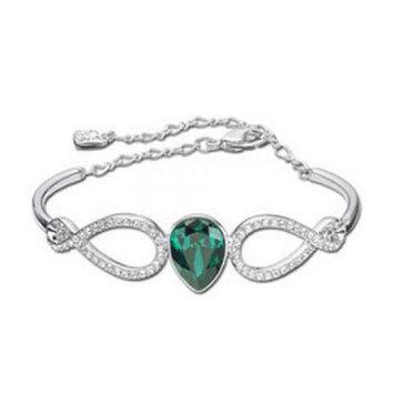 Swarovski Green Emerald & Clear Crystal SHOWBIZ Bangle Rhodium #1157966