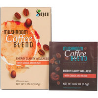 Sayan Mushroom Instant Coffee Blend 20 Packets (0.09oz/2.5g each) 100% Organic Arabica Colombian   Organic Reishi & Chaga Extract   Powerful Immune Support Antioxidant Drink   Concentration & Focus