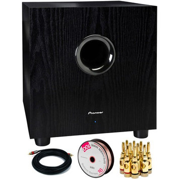 Pioneer 100-Watt Powered Subwoofer with Banana Plugs & Cables Bundle