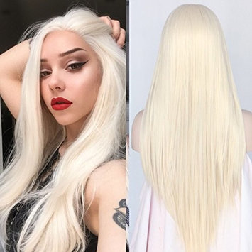 Light Blonde Color Straight Synthetic Lace Front Women Daily Makeup Wigs