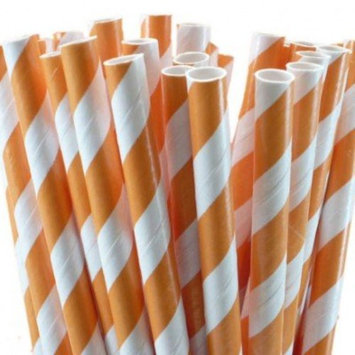 Orange Striped Paper Straws - Orange Candy Cane Striped Straws with Many Uses - 50 Count